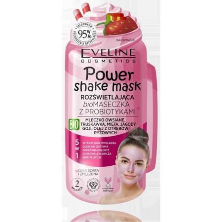 Eveline  Power Shake Rozświetlająca Maseczka-peeling z probiotykami truskawka 10ml